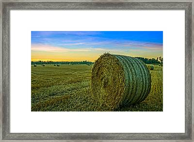 Hay Bales Before Dusk Framed Print