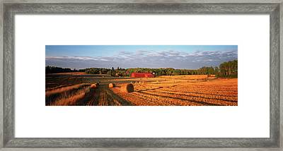 Hay Bales In A Field, Flen Framed Print by Panoramic Images