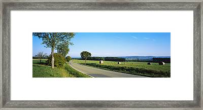 Hay Bales In A Field, Germany Framed Print by Panoramic Images