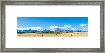 Hay Bales In A Field With Canadian Framed Print by Panoramic Images