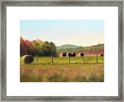 Hay Bales In The Cove Framed Print by Joan Swanson