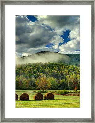 Hay Bales In The Morning Framed Print by Michael Eingle