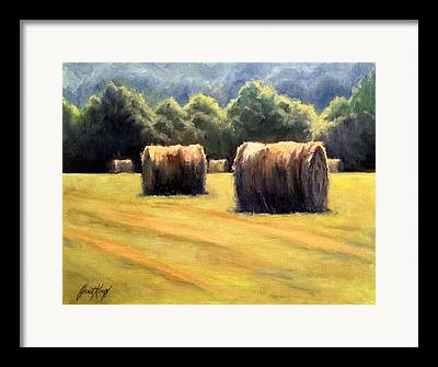 Hay Bales In Franklin Tennessee Framed Prints
