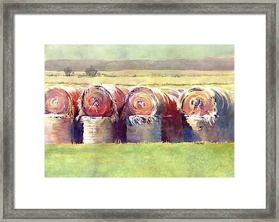 Hay Bales Framed Print by Kris Parins