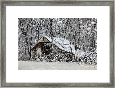 Framed Print featuring the photograph Hay Barn In Snow by Debbie Green
