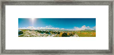 Hay Field In Snow, Andorra Framed Print