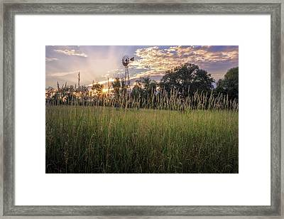 Hay Field Sunset Framed Print by Bill Wakeley