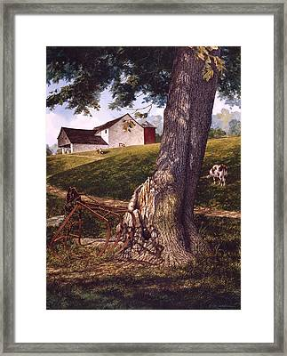 Framed Print featuring the painting Hay Fork by Tom Wooldridge
