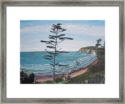 Framed Print featuring the painting Hay Stack Rock From The South On The Oregon Coast by Ian Donley