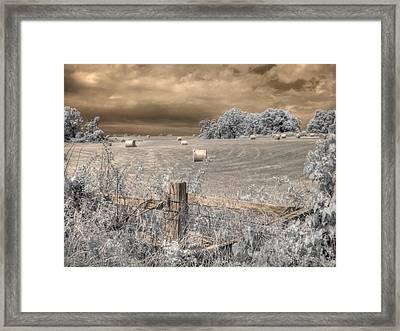 Hay Stacks Framed Print by Jane Linders