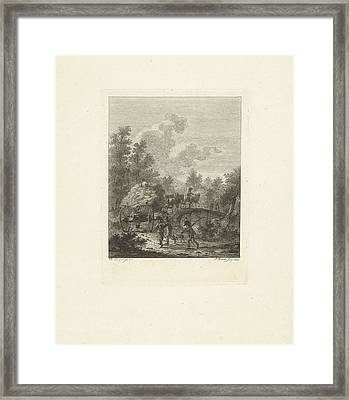 Hay Wagon Which Drives Over A Bridge, Joannes Bemme Framed Print