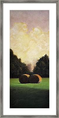Hay Wheels - Pastel Framed Print by Ben Kotyuk