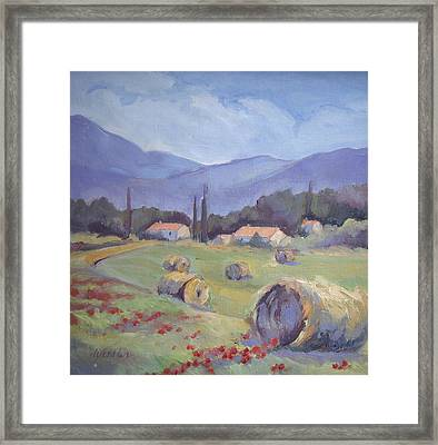 Haybales And Poppies Of Provence Framed Print by Linda  Wissler