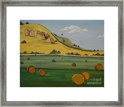 Haybales Framed Print by Cassandra Barnhart