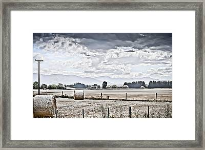 Haybales Fields Trees And Clouds Framed Print by Shivonne Ross