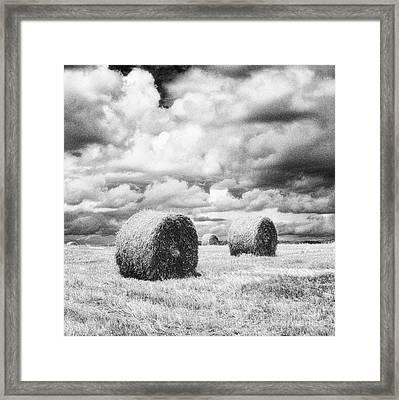 Haybales Uk Framed Print by Jon Boyes