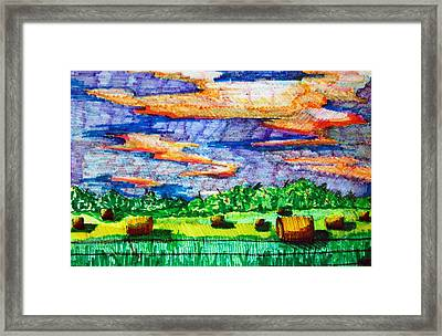 Hayfields Framed Print by Jame Hayes