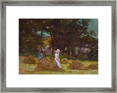 Haymaking  Framed Print by Elizabeth Adela Stanhope Forbes