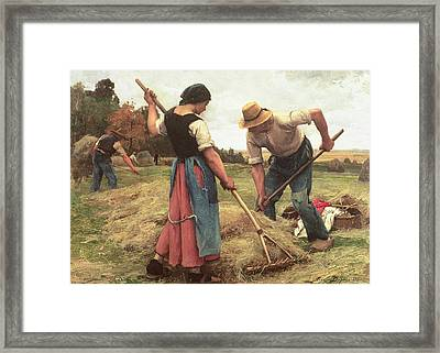 Haymaking Framed Print by Julien Dupre
