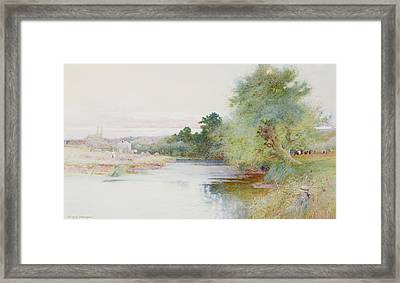Haymaking Near Marlow Framed Print by Arthur Claude Strachan