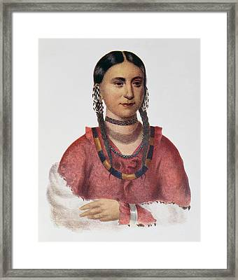 Hayne Hudjuhini Or The Eagle Of Delight, Illustration From The Indian Tribes Of North America Framed Print by Charles Bird King