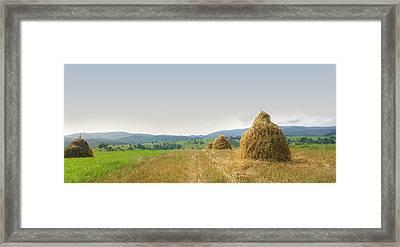 Hayrack Panorama Framed Print by Vlad Baciu