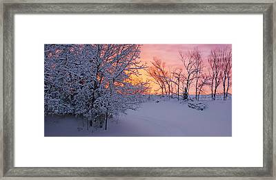 Hayrake And Trees - Winter Sunset #2 Framed Print