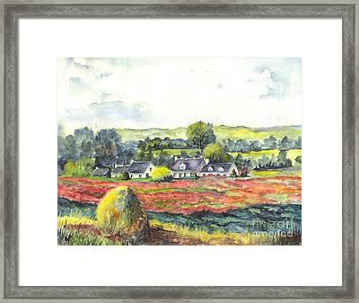 Haystack And Poppies  Framed Print by Carol Wisniewski