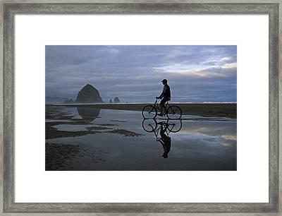 Haystack Biker Framed Print