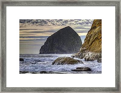 Haystack Rock At Cape Kiwanda Framed Print by David Gn