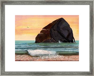 Haystack Rock At Kiwanda Framed Print