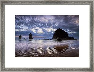 Haystack Rock At Sunset Framed Print by Andrew Soundarajan