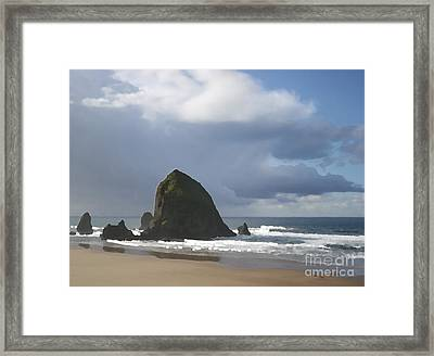 Framed Print featuring the photograph Haystack Rock by Jeanette French