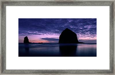 Haystack Rock Twilight Framed Print by Dan Mihai