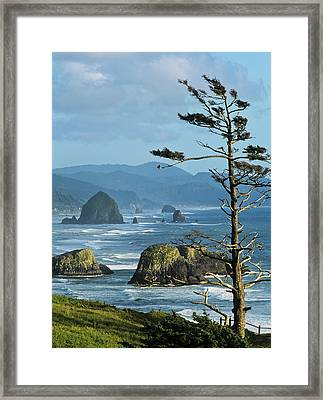 Haystack Rock Viewed From Ecola Point Framed Print
