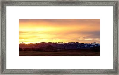 Haystack Rocky Mountain Front Range Sunset Panorama Framed Print