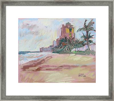 Framed Print featuring the painting Hazy Beach by Linda Novick