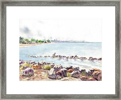 Hazy Morning At Crab Cove In Alameda California Framed Print by Irina Sztukowski