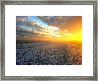 Hazy Oceanic Sunset Framed Print by Karen Rhodes