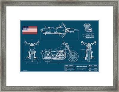 Harley Davidson Sportster Blueplanprint Framed Print by Douglas Switzer