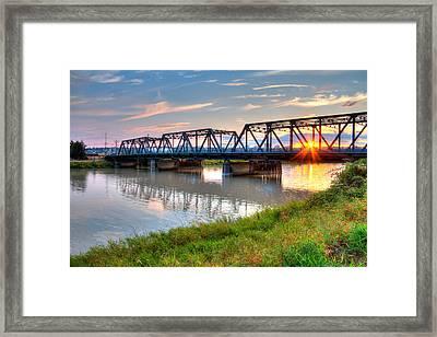 Hdr - Sunset On Lincoln Ave. Bridge  Framed Print
