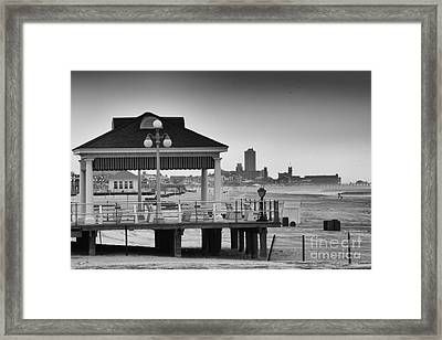Hdr Beach Boardwalk Photos Pictures Art Sea Ocean Photograph Scenic Landscape Black White Framed Print by Pictures HDR