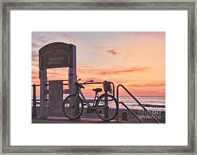 Hdr Beach Ocean Sunrise Boardwalk Bike Seaview Art Print Avon Nj  Framed Print