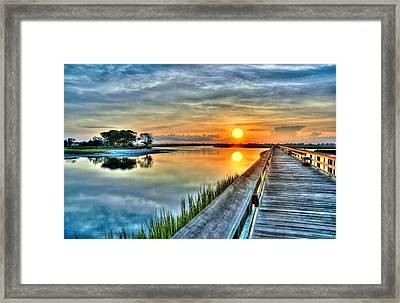 Hdr Boardwalk Sunrise Framed Print