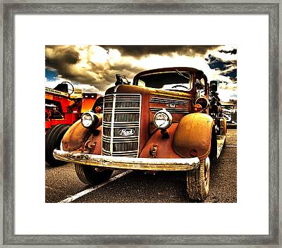 Hdr Fire Truck Framed Print