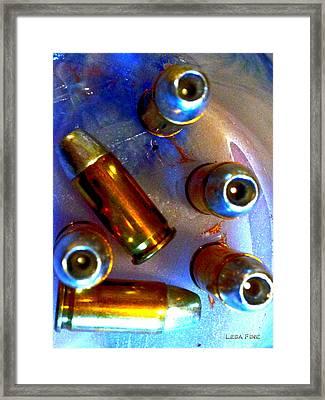 Bullet Art - Hdr Photography Of .32 Caliber Hollow Point Bullets Art 4 Framed Print by Lesa Fine