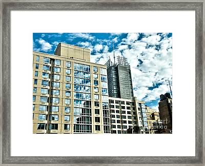 Hdr Reflections On Buildings New York City Framed Print by Amy Cicconi