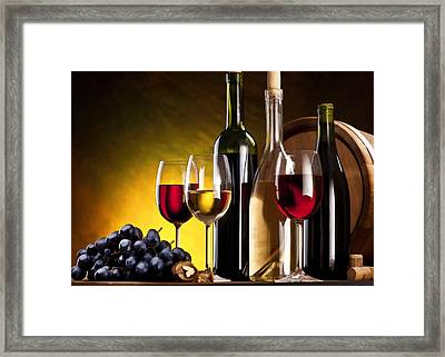 Hdr Style Wine Glasses Bottle Cask And Grapes Framed Print