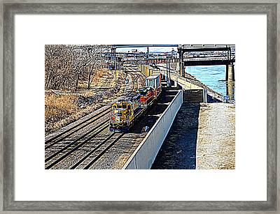 Framed Print featuring the photograph Hdr Train by Karen Kersey