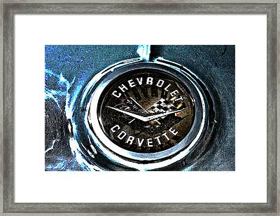 Framed Print featuring the photograph Hdr Vintage Corvette Emblem Art by Lesa Fine